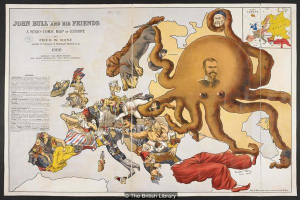في أواخر القرن الثامن عشر أصبحت الخرائط الكاريكاتورية شائعة
