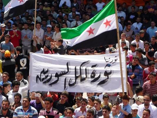 تظاهرة سلمية في مدينة درعا في 2012 تطالب بالحرية ورحيل الأسد - أرشيفية