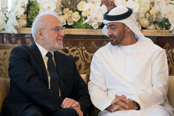 الجعفري مجتمعا في أبوظبي اليوم مع الشيخ محمد بن زايد