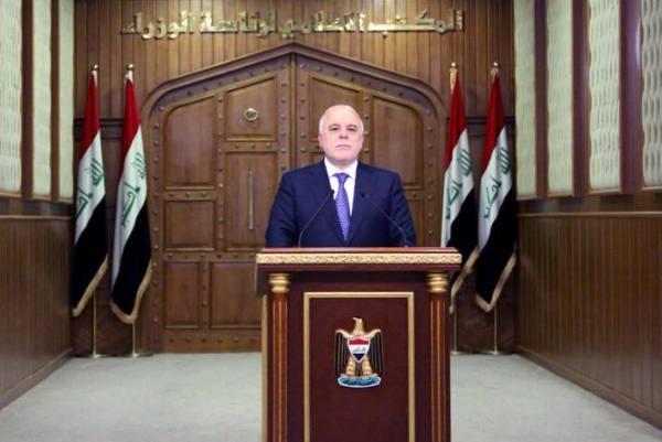 العبادي متحدثًا الى العراقيين حول الاستفتاء الكردي للانفصال