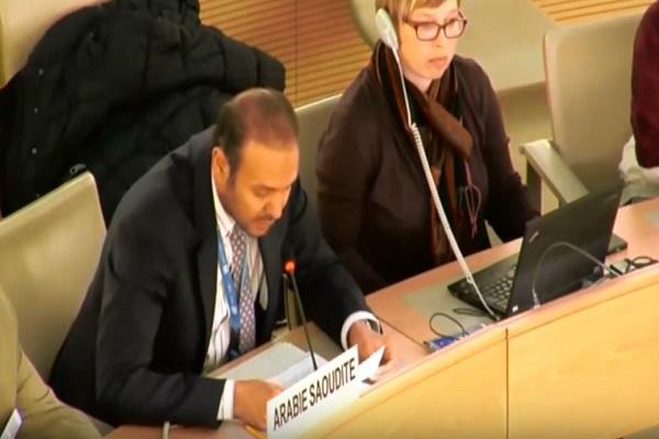 الدكتور خالد المنزلاوي خلال إلقائه كلمة السعودية في الأمم المتحدة