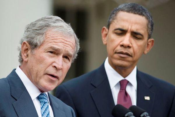الرئيسان الأميركيان السابقان بوش وأوباما