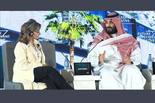 محمد بن سلمان متحدثا في مناظرة مبادرة المستقبل