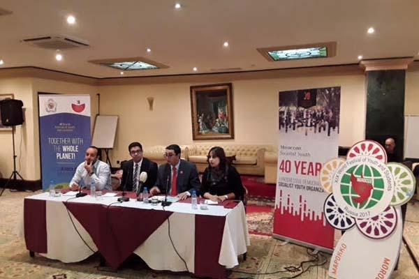 قادة شبيبة حزب التقدم والاشتراكية المغربي في المؤتمر الصحافي اليوم