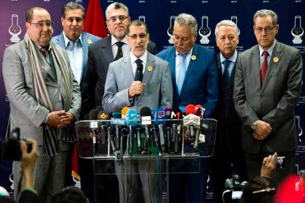 العثماني رفقة قادة أحزاب الغالبية الحكومية المغربية