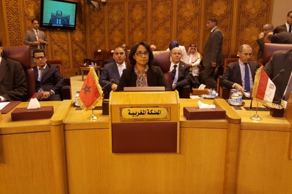 مونية بوستة وزيرة دولة في الخارجية المغربية لدى ترؤسها الوفد المغربي