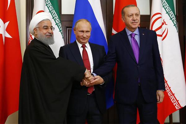 اردوغان، بوتين وروحاني بعد قمة سوتشي