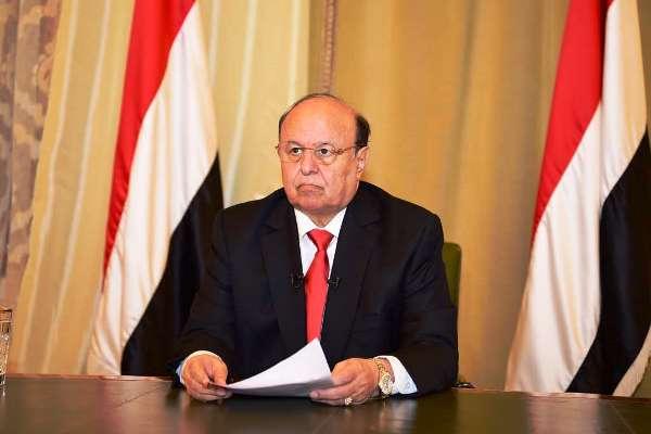 الرئيس اليمني موجها كلمة للأمة يوم الاثنين