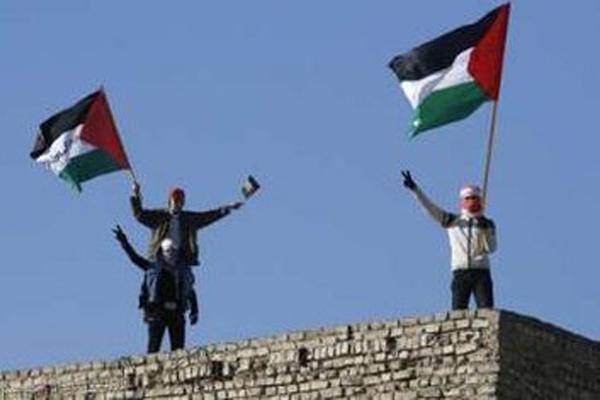 شبان عراقيون يرفعون الاعلام الفلسطينية دعما للشعب الفلسطيني