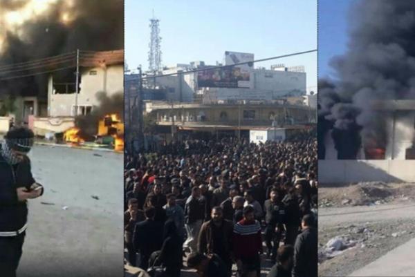تظاهرات احتجاج وحرق مقار أمنية وحزبية في السليمانية