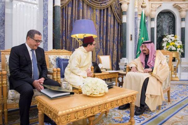 خادم الحرمين الشريفين مستقبلا وزيرا خارجية ومالية المغرب