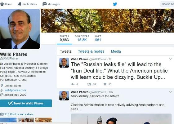 مستشار ترامب يغرد على تويتر قائلا إنّ التسريبات الروسية ستقود في النهاية إلى الاتفاق النووي مع إيران
