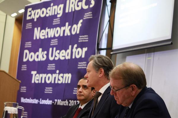 المؤتمر الصحافي لمنظمة مجاهدي خلق في لندن للكشف عن ارصفة الحرس الثوري التجارية