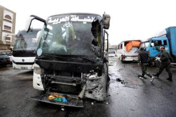 حافلة مستهدفة كانت تقل شيعة عراقيين في دمشق