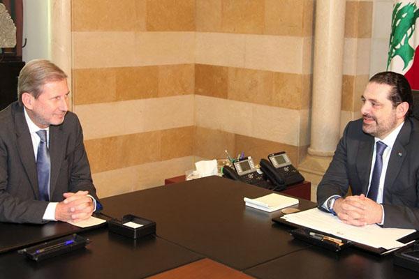المفوض الأوروبي يوهانس هان مع رئيس الوزراء سعد الحريري