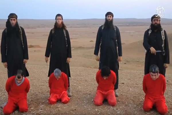 صورة لإعدام سوريين على يد داعش ارفقت بالبيان