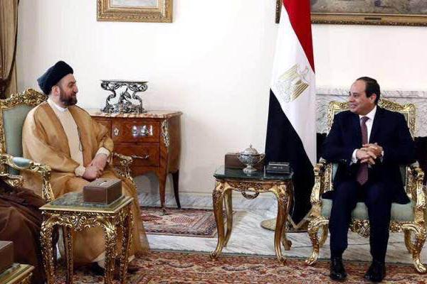 الحكيم ملتقيا السيسي في القاهرة