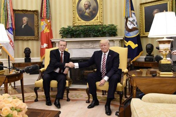 ترمب خلال استقباله أردوغان اليوم في البيت الأبيض