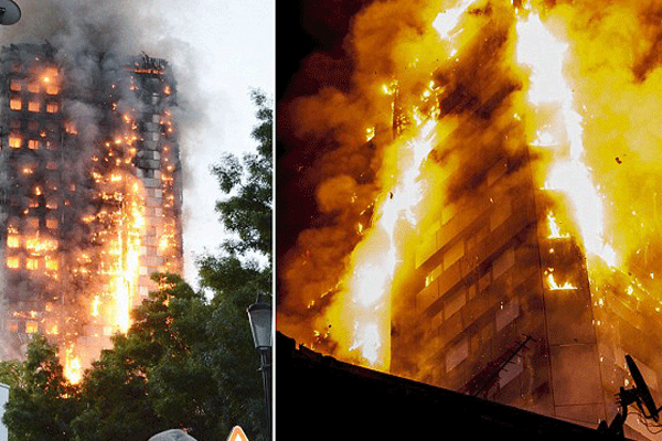 النيران التهمت البرج من القاعدة الى القمة