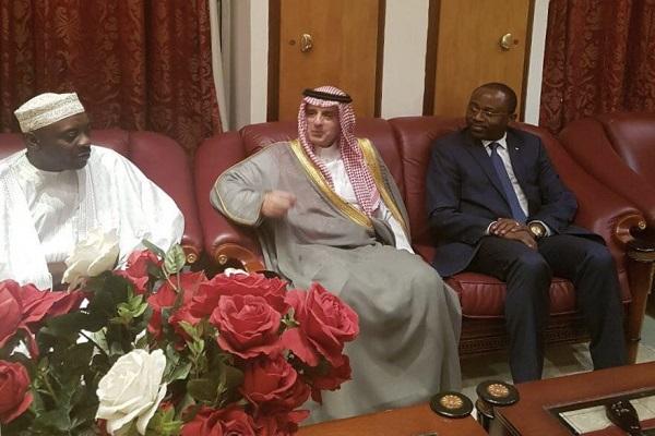 وزير الخارجية السعودي عادل الجبير خلال لقاءه بوزير الشؤون الخارجية في غينيا أجابيتو امبا موكوي