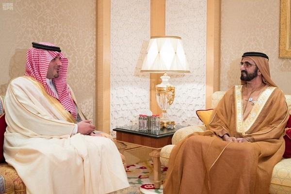 الشيخ محمد بن راشد خلال استقباله الأمير عبد العزيز بن سعود