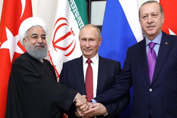 احد لقاءات اردوغان، بوتين وروحاني
