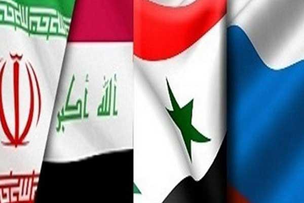 أعلام دول المركز العسكري الرباعي العراقي السوري الإيراني الروسي