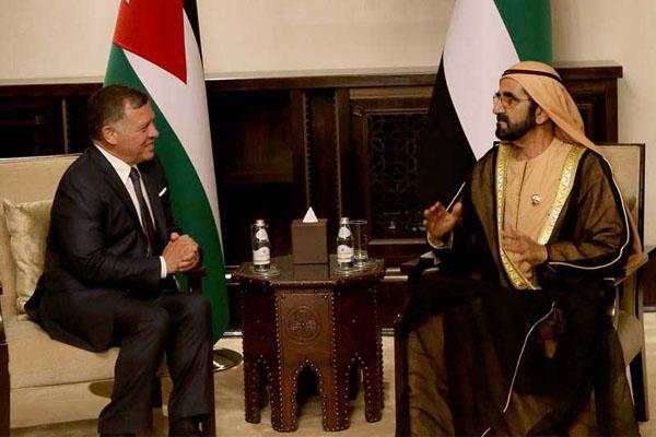 محمد بن راشد ومحادثات مع عبدالله الثاني (تصوير يوسف العلان)