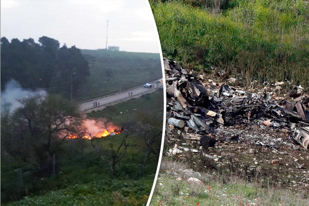 لقطتان من مكان سقوط المقاتلة الإسرائيلية