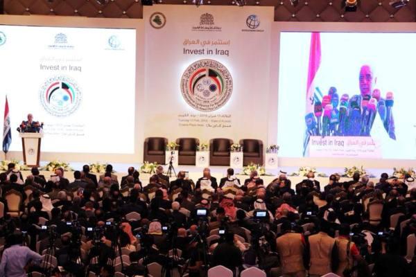 العبادي متحدثا الى مؤتمر الكويت الدولي لاعادة اعمار العراق