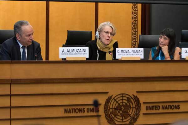 عبد العزيز المزيني مدير مكتب اتصال اليونسكو في جنيف خلال اجتماعات الدورة 37 لمجلس حقوق الإنسان الثلاثاء 6 مارس 2018