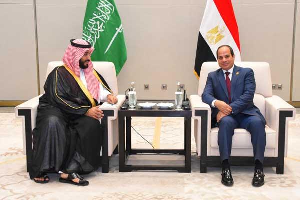 ولي العهد السعودي والرئيس المصري خلال لقاء سابق لهما