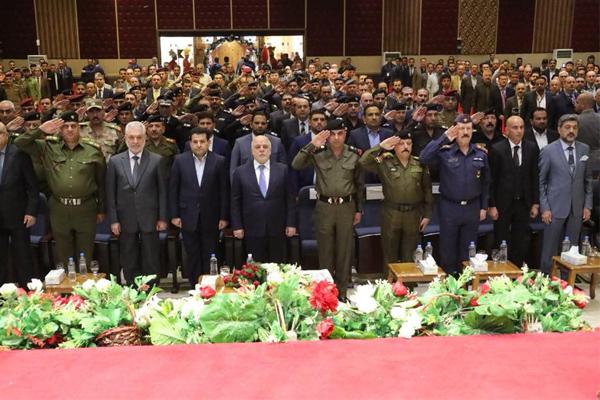 العبادي خلال مشاركته في بغداد بمؤتمر الأمن والدفاع والصناعات الحربية