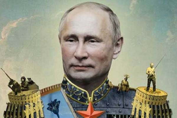 بوتين القيصر بزي القياصرة والبلاشفة بالنجمة الحمراء