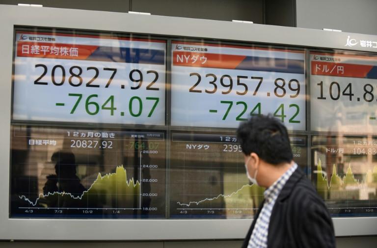 أحد المارة يتابع مؤشر أسعار أسهم الشركات في طوكيو