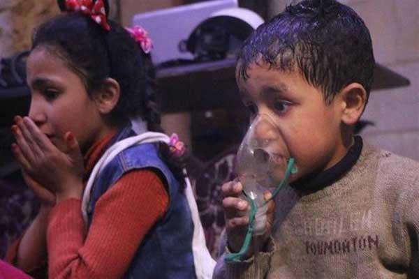 أطفال مصابون بضيق في التنفس جراء الهجوم الكيميائي