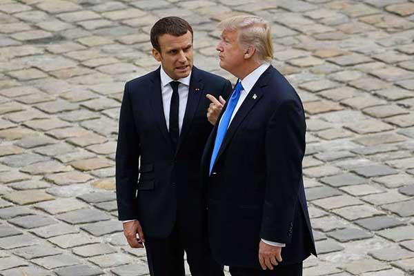 الرئيس الأميركي دونالد ترمب ونظيره الفرنسي إيمانويل ماكرون