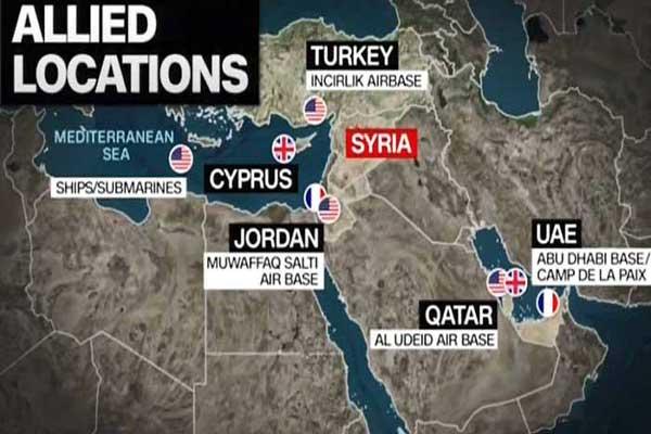 خريطة تبين مناطق انطلاق المقاتلات الغربية (سي ان ان)