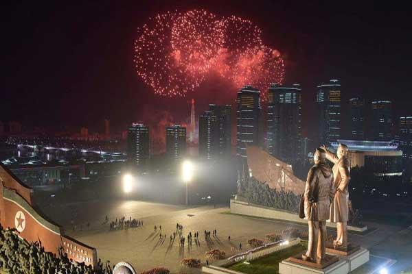 احتفالات الذكرى السادسة بعد المئة لولادة مؤسس كوريا الشمالية كيم إيل سونغ. تاريخ الصورة 15 إبريل 2018
