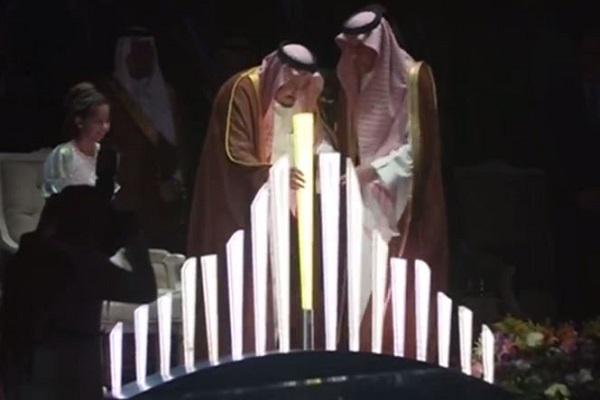 العاهل السعودي الملك سلمان بن عبد العزيز خلال تدشين مشروع القدية