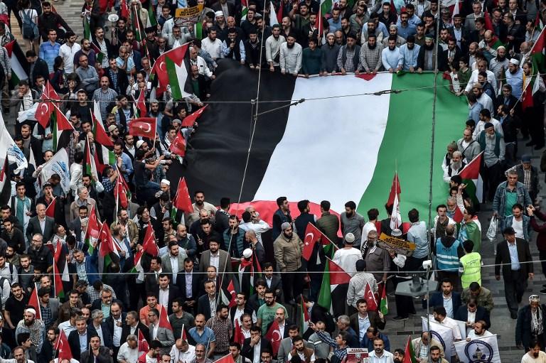 تظاهرة في اسطنبول يوم الاثنين ترفع العلم الفلسطيني