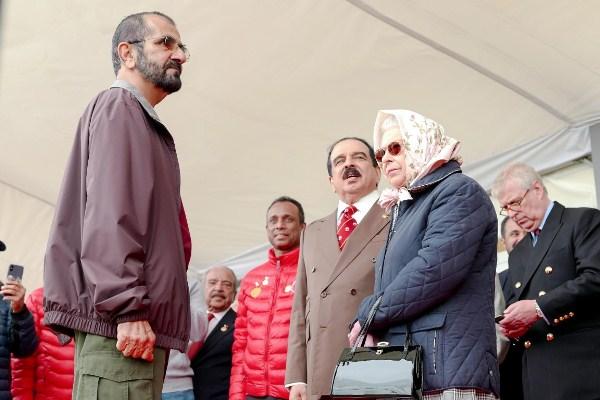 الشيخ محمد بن راشد والملكة اليزابيث والملك حمد بن عيسى