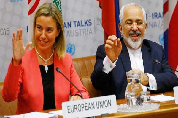 ظريف وموغيريني في مؤتمر صحافي سابق