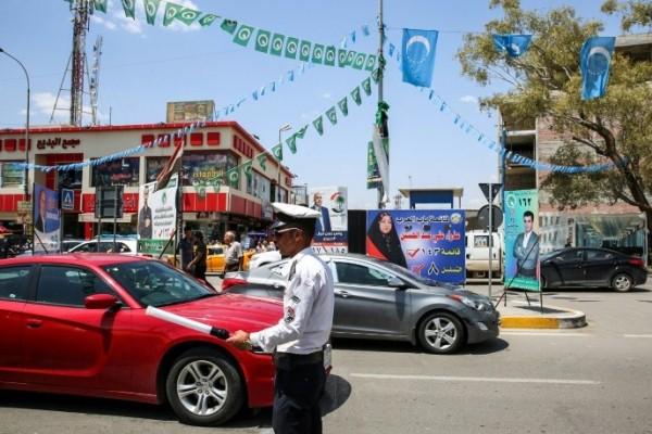 دعاية انتخابية في مدينة كركوك العراقية الشمالية