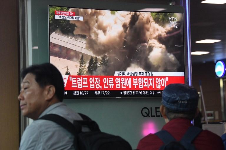 مواطنون من كوريا الجنوبية يتابعون اعلان الشمال تفكيك موقع نووي