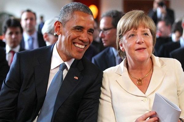 المستشارة الأمريكية انغيلا ميركيل والرئيس الأمريكي السابق باراك أوباما