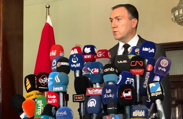 السفير التركي في العراق فاتح يلدز خلال مؤتمر صحافي في بغداد
