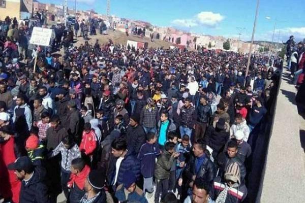 إحدى المسيرات الاحتجاجية في جرادة في شرق المغرب