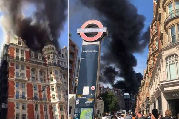 لقطتان من حريق الفندق الفاخر في غرب لندن