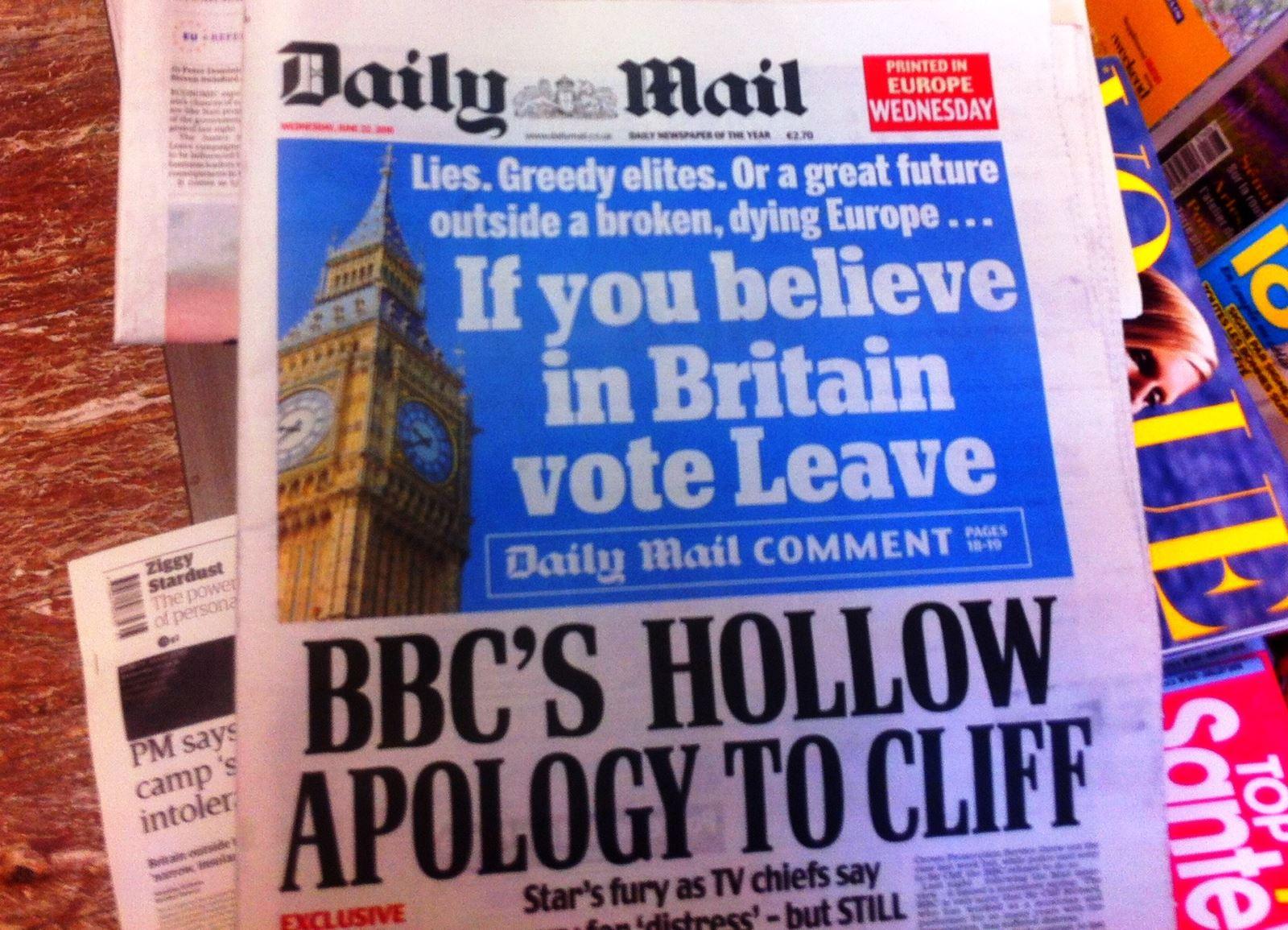 الدايلي ميل لطالما عُرفت بتحمّسها لخروج بريطانيا من الاتحاد الأوروبي